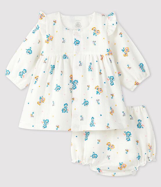 Abito a fiori a maniche lunghe con bloomer bimba in tessuto pannolino bianco Marshmallow / bianco Multico