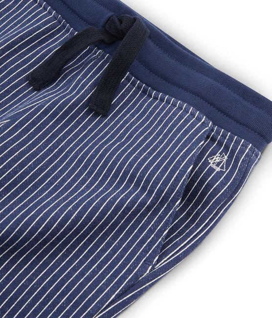 Pantalone in maglia da bambino blu Smoking / bianco Marshmallow