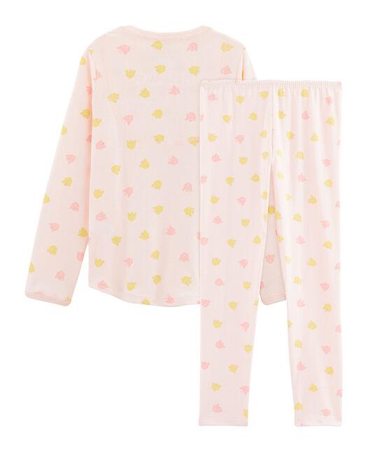 Pigiama bambina a costine rosa Fleur / bianco Multico