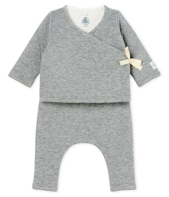 Completo due pezzi bebè in tubique trapuntato grigio Subway