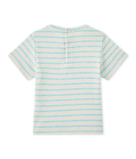 T-shirt bebé bambino a maniche corte rigata bianco Feta / verde Adventure