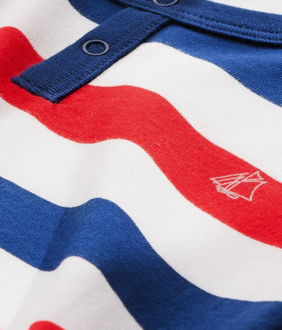 Pigiama per bambino in jersey a righe bianco Ecume / blu Source