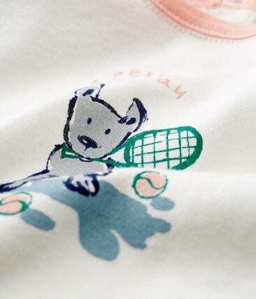 T-shirt mc bebè maschietto fantasia bianco Marshmallow / verde Pinede