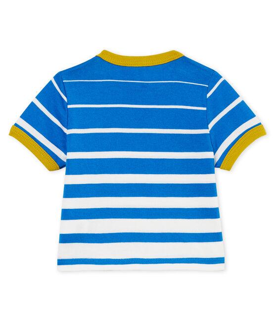 T-shirt mc a righe bebè maschietto blu Riyadh / bianco Marshmallow
