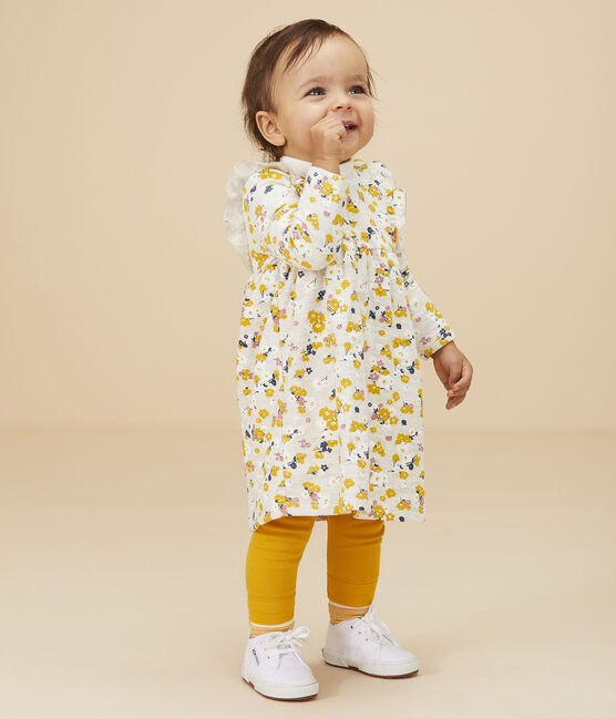 Abito a maniche lunghe da bebè femmina beige Montelimar / bianco Multico
