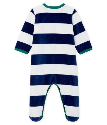 Tutina pigiama bebé maschio in ciniglia blu Medieval / bianco Marshmallow