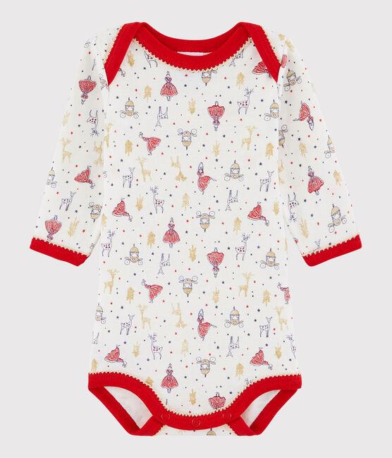 Body manica lunga bebè femmina bianco Lait / bianco Multico