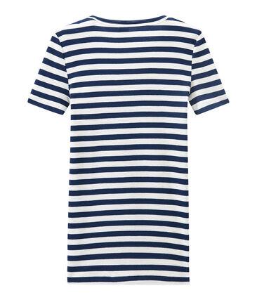 T-shirt donna scollo V in costina originale 1x1 rigata blu Medieval / bianco Marshmallow