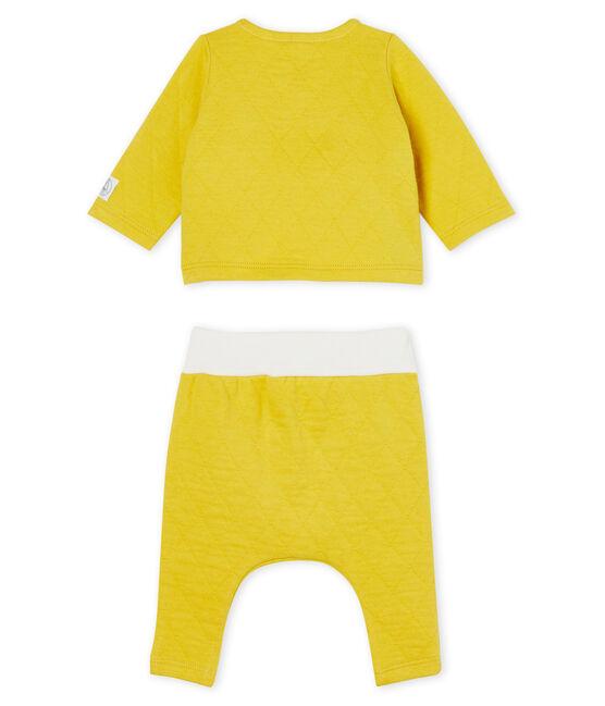 Completo due pezzi bebè in tubique trapuntato giallo Ble