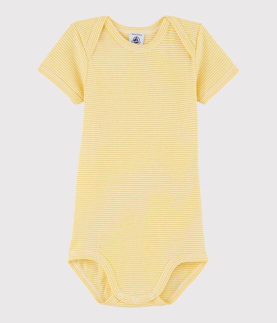 Body a manica corta bebè unisex giallo Ble / bianco Marshmallow