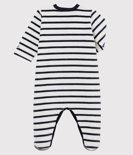 Tutina a righe bebé in ciniglia bianco Marshmallow / blu Smoking