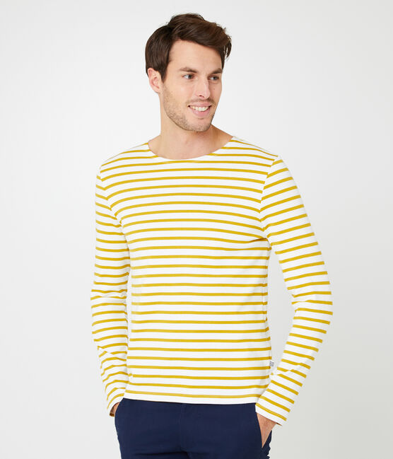 Marinière iconica uomo bianco Marshmallow / giallo Bamboo