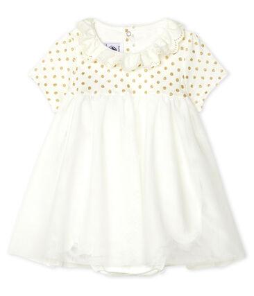 Abito body bebè femmina in cotone e lino bianco Marshmallow / giallo Or