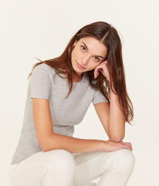 T-shirt maniche corte girocollo donna grigio Poussiere Chine