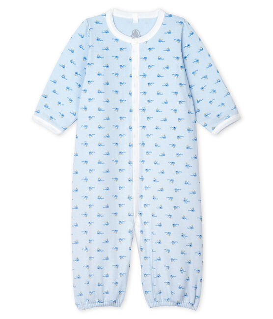 Combisac bebè a costine blu Fraicheur / bianco Multico