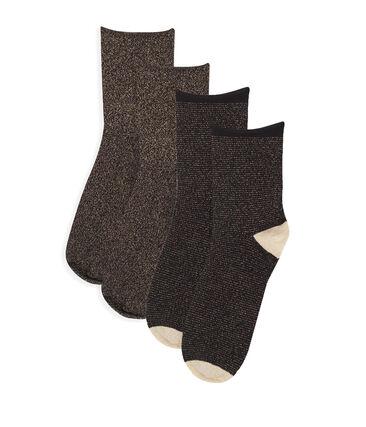 Lotto di calzini a metà polpaccio donna nero Noir / giallo Or