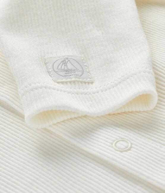 Cardigan bebè a costina 2x2 bianco Marshmallow