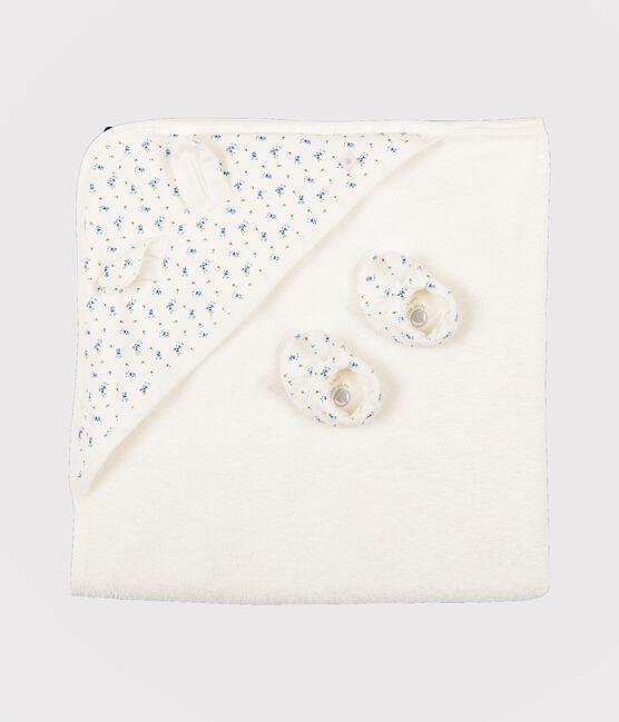 Cofanetto telo da bagno quadrato e babbucce neonato in spugna e a costine bianco Marshmallow / bianco Multico