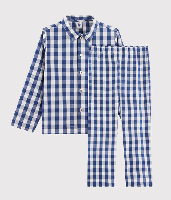 Pigiama a quadri bambino in twill blu Medieval / bianco Marshmallow