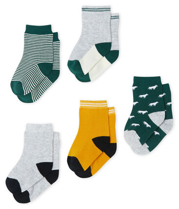 Confezione da 5 paia di calzini bebè maschio verde Sousbois / bianco Multico
