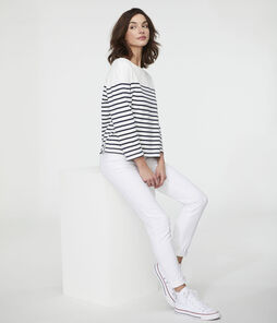 Marinière iconica donna bianco Marshmallow / blu Smoking