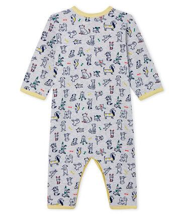 Tutina senza piedi bebé maschio a costine grigio Poussiere / bianco Multico Cn