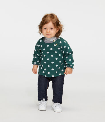 Blusa a manica lunga bebè femmina in fantasia verde Sousbois / bianco Marshmallow