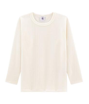 T-shirt a maniche lunghe in lana e cotone da bambino beige Ecru