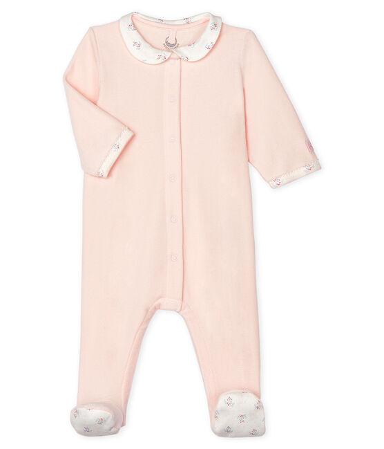 Tutina pigiama bebè femmina in ciniglia rosa Fleur