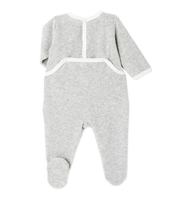 Tutina per bebé unisex in ciniglia grigio Beluga Chine