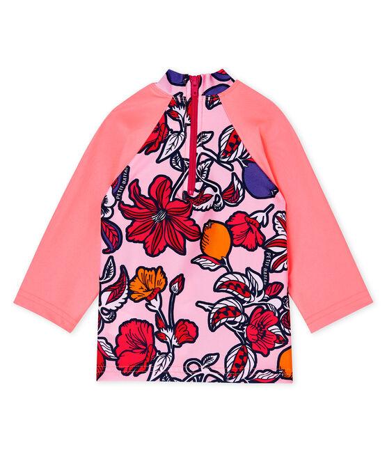 T-shirt anti-UV UPF 50+ ecoresponsabile bimba rosa Merveille / bianco Multico