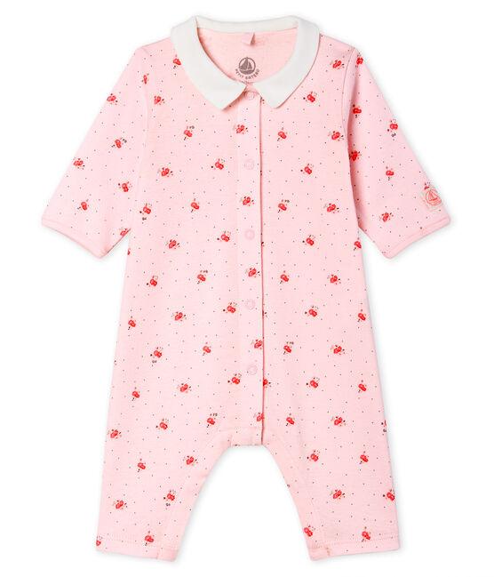 Tutina senza piedi a costine bebè rosa Vienne / bianco Multico