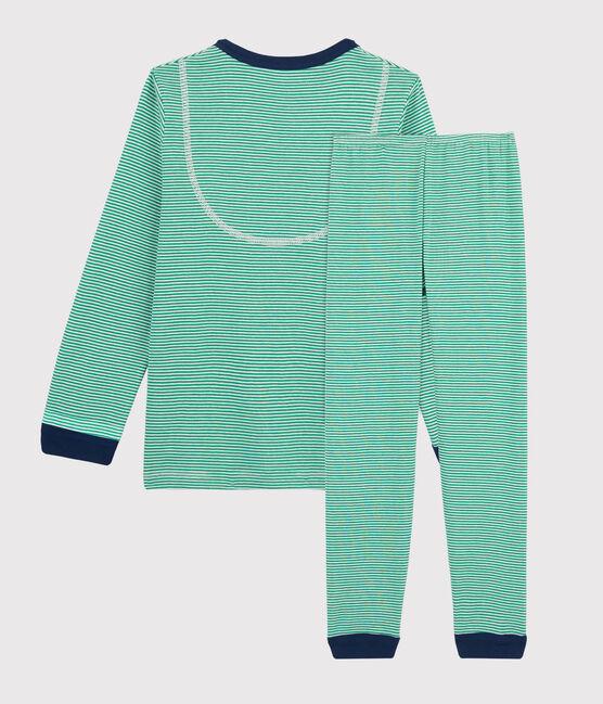 Pigiama millerighe verde bambino a costine verde Prado / bianco Marshmallow