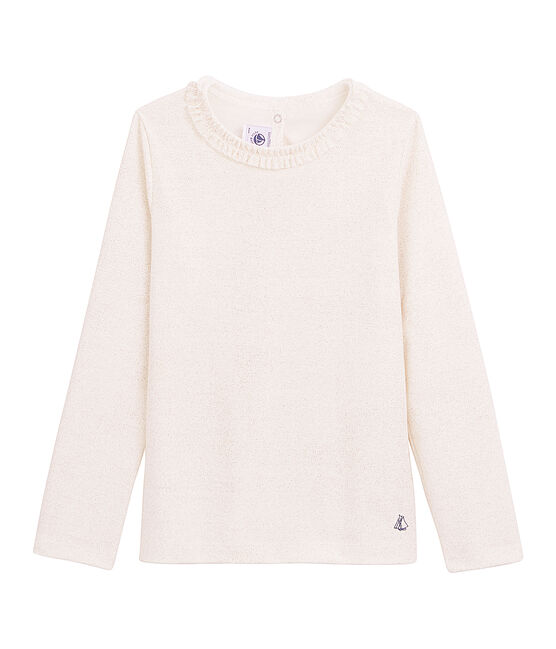 Tee-shirt millerighe a maniche lunghe bianco Marshmallow / rosa Copper