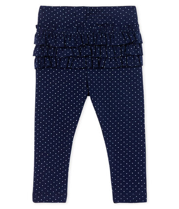 Leggings stampati da bebè femmina con balze blu Smoking / bianco Marshmallow Cn
