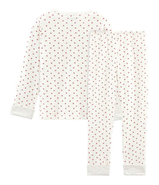 Pigiama bambina in tubique bianco Marshmallow / rosso Terkuit