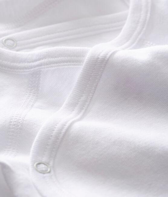 Confezione da 2 body bianchi incrociati manica corta bebè in cotone biologico lotto .