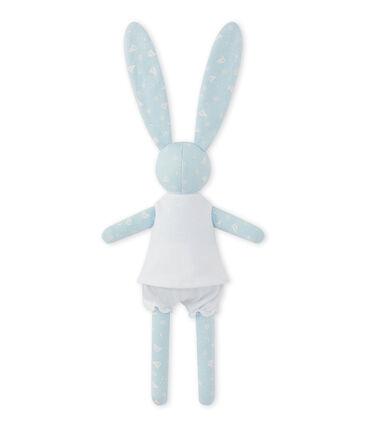 Doudou coniglietto stampato blu Toudou / bianco Ecume
