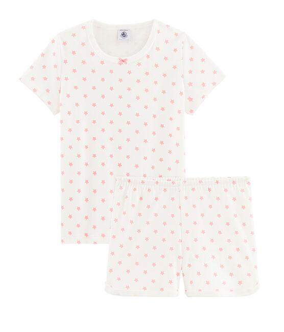 Pigiama con stelle rosa bambina a costine bianco Marshmallow / rosa Gretel