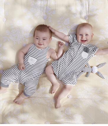 Doudou coniglietto bebè in jersey bianco Marshmallow / blu Smoking