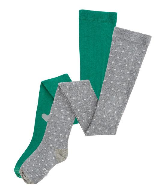 Confezione da 2 collant bambina grigio Subway / verde Ecology