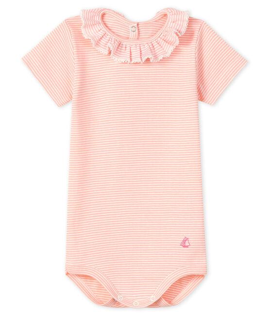 Body con colletto rotondo arricciato bebè femmina rosa Patience / bianco Marshmallow