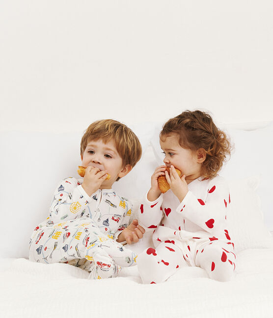 Tutina bebè maschio a costine bianco Marshmallow / bianco Multico