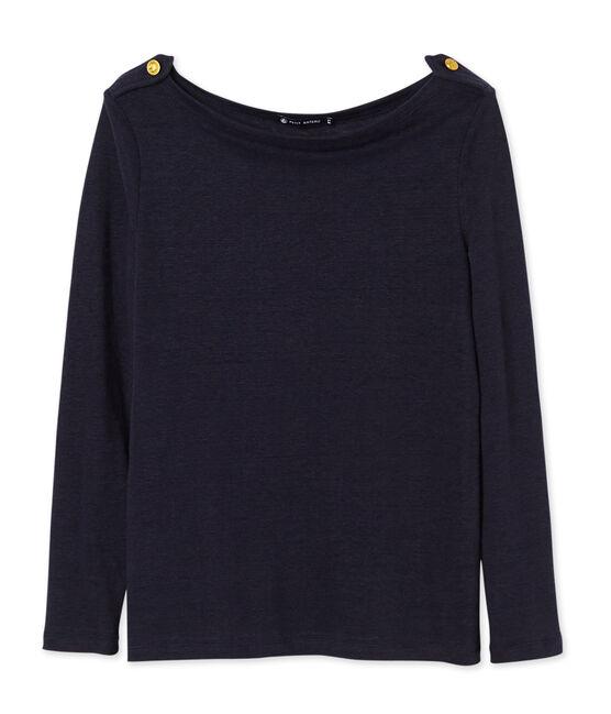T-shirt donna in lino blu Smoking