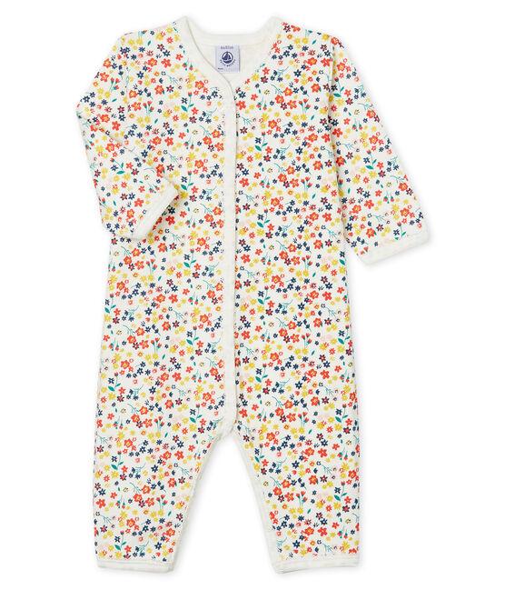 Tutina senza piedi a costine bebé femmina bianco Marshmallow / bianco Multico