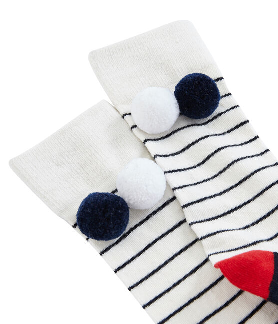 Calzini alti bambina bianco Marshmallow / blu Smoking