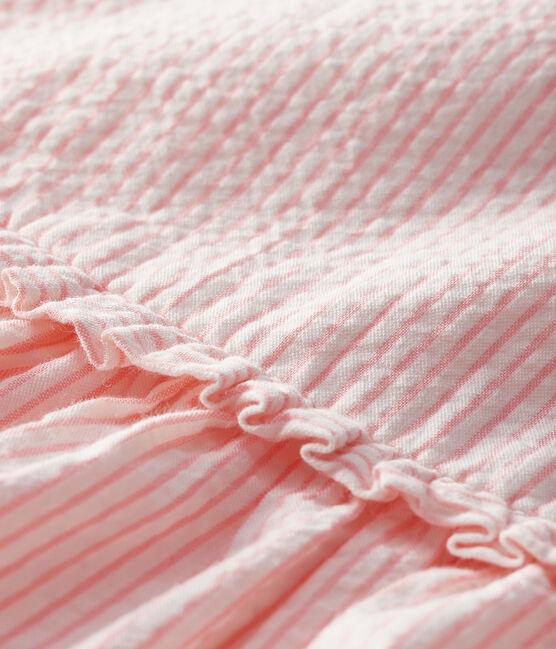 Abito senza maniche bebè femmina rigato bianco Marshmallow / rosa Rosako