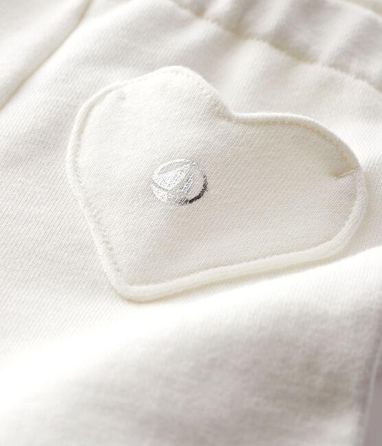 Leggins bebè femmina in molleton bianco Marshmallow