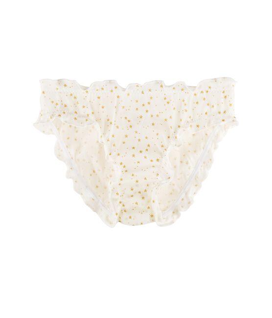 Slip bambina bianco Marshmallow / giallo Or