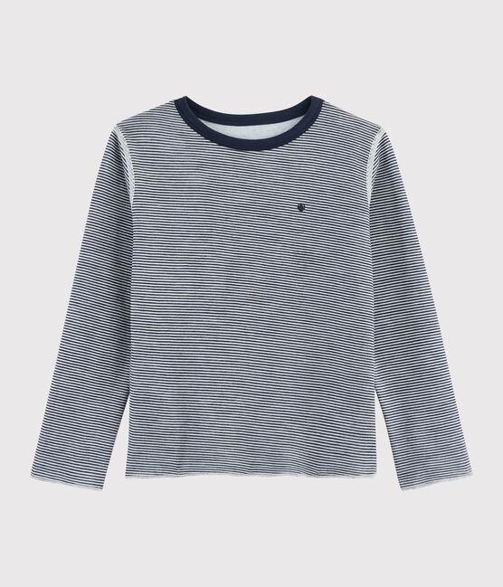 T-shirt double face bambino blu Smoking / bianco Marshmallow